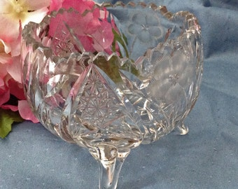 Footed Crystal Bowl, MINT condition, Sawtooth Edge, Cut and Pressed, American Brilliant Cut Glass,