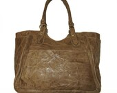 "Distressed Leather Tote Leather Bag Leather Handbag Julia in Vintage Taupe XL fits a 17"" laptop"