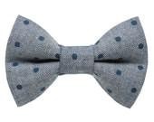 "Cat Bow Tie - ""The Corner Office"" -  Navy Polka Dot Chambray"