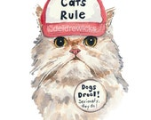 Angry Cat Watercolor PRINT - 5x7 Persian Cat Watercolour, Cat In a Hat, Trucker Hat, Funny Painting