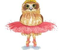 Ballet Owl Watercolor - 5x7 PRINT, Ballerina, Ballet Art, Owl Painting, Nursery Art