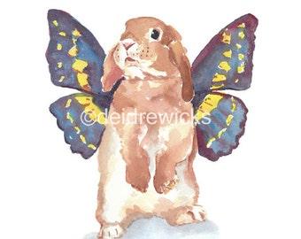 5x7 Rabbit Watercolor PRINT - Bunny Rabbit, Butterfly Wings, Nursery Art, Rabbit Illustration