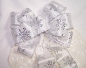 White and Silver Snowflake Bow - Handmade, Great for Wreaths, Holiday, Christmas & Winter Decor Decoration Stunning Winter Wedding Pew Bow