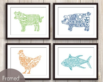 Geometric Butcher Diagrams Series A , Pig, Chicken and Tuna Fish - Set of 4 Art Prints (Featured in Grass, Snorkel, Orange Peel and Oceanic)