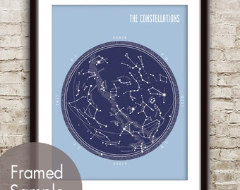 The Constellations - Star Map - Mod Art Print (Featured in Navy on Blue Icing) Modern Astronomy / Outer Space Art Print