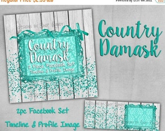 Facebook Timeline Cover - Premade Facebook Profile - Country Damask with Glitter - Facebook Shop Set, Timeline Cover Image