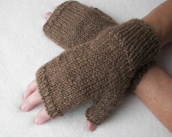 Exotic Pure CAMEL WOOL Hand Knit Fingerless GLOVES Unisex in Brown / Meaningful gift