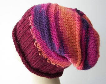 Hand knit slouchy hat Wool Hat - ready to ship / Patons Classic Wool Yarn Commotion / Magenta Red, Purple, Burnt Orange