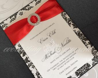 Damask Rhinestone Pocket Folder Wedding Invitation, Elegant, Wedding, Damask, Anniversary, Baptism, Bat Mitzvah, Announcement
