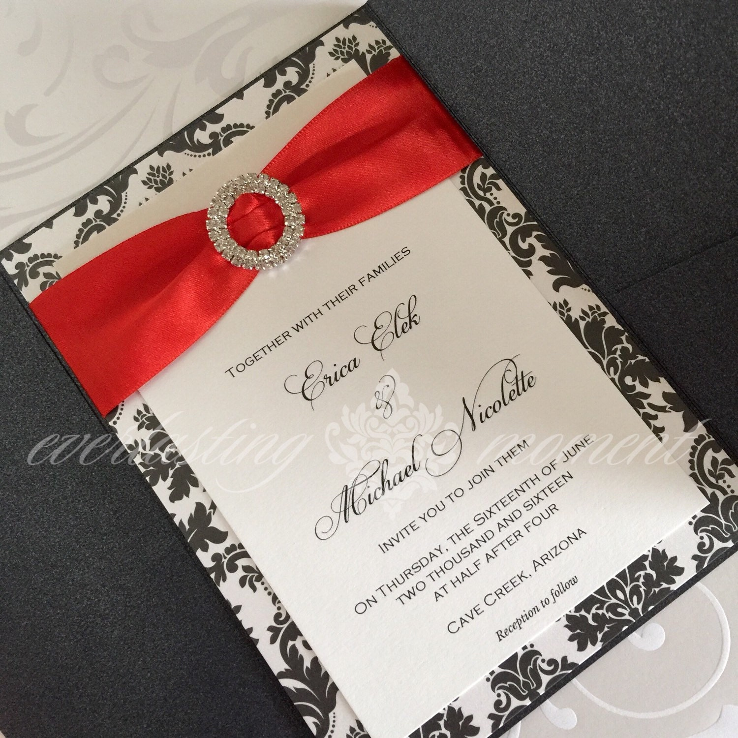 pocket wedding invitations with bling - 28 images - rhinestone ...