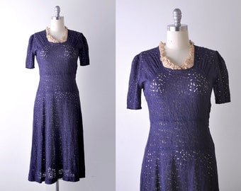 30's lace dress. m. 1930's vintage dress. navy blue. drop waist. collar.