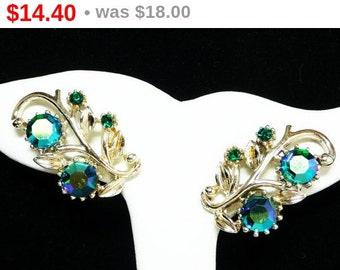 Blue Aurora Borealis Earrings - Clip on Coro Signed Flowers, Iridescent Blue Flower Earrings - Designer Signed Mid Century