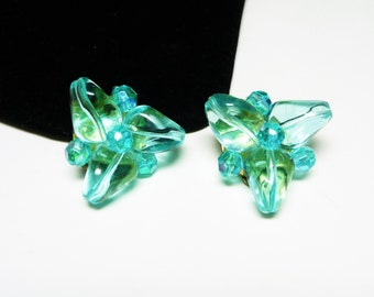 West Germany Turquoise Earrings - Vintage Clip on Style with Triangle & Round Faceted Lucite Beads