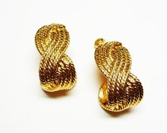 Vintage Napier Goldtone Earrings - Braided Hoops Style -  Clip on with Comfort Screws - Designer Signed Classic Jewelry