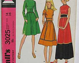 RARE Vintage 70's Misses' Dress, Maxi McCall's 3025 Sewing Pattern UNCUT Size 14