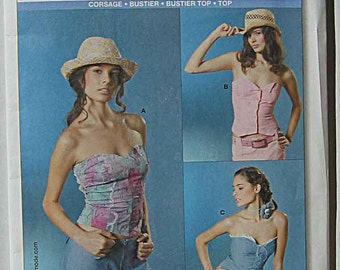 Misses' Easy Bustier Tops 3 Styles Burda 8044 Sewing Pattern UNCUT Sizes 8-20