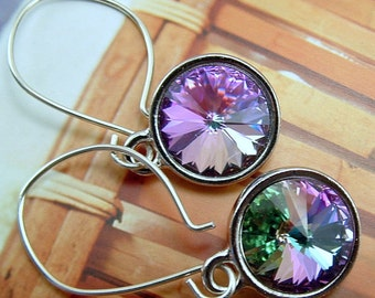 Crystal Earrings Of Swarovski, Pink , Purple Green Vitrail Light Crystal Rivoli , Sterling Silver Ear Wires