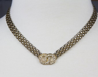 Gold Necklace Heavy Chain Two intertwined circles encrusted with Rhinestones