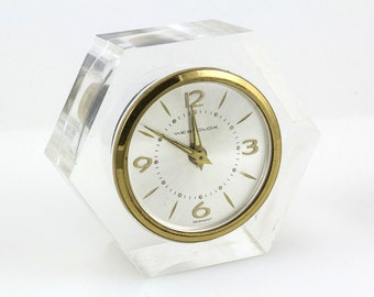 Westclox Table Alarm Clock Made in West Germany, Mechanical Clear 6 sided Hexagon Lucite Case, Tested, Runs perfectly, Excellent condition