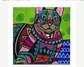 50% OFF Storewide- Tabby Cat Folk art Tile Ceramic Coaster Mexican Folk Art Print of painting by Heather Galler