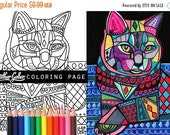 50% Off- cat coloring, coloring book, adult coloring book, coloring pages, adult coloring pages, coloring book for adults