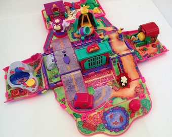 Galoob Pound Puppies Vintage Super Pound Play Ground Van Truck Miniature Compact Playset Mini Tiny Plastic Puppy Kitty Cat Purries 90s