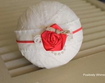 Red Flower Headband, Newborn Headband, Baby Girl Headband,  Lace Headband, Christmas Headband, Holiday Headband, Pearls, Red, Ivory