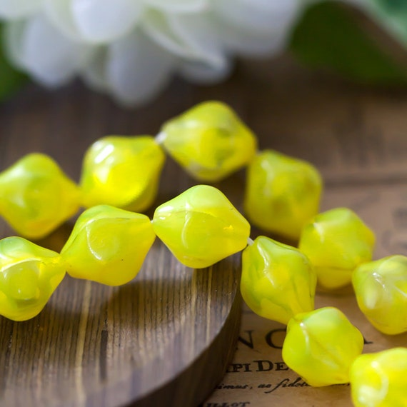 Vintage Sunny Yellow Givre Unusual Bicone Shape Glass Beads