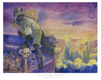 Gone Before Sunrise - watercolor and gouache painting reproduction of anthropomorphic fox thief by skyline in purple in gold