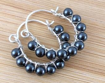Black Pearl Hoops. Beaded Sterling Silver Hoops. Wire Wrapped. Black Pearl Earrings. Swarovski Pearl Earrings.