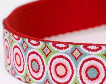 Red Bullseye Dog Collar, Ribbon Adjustable Pet Collar, Circles, Mod Geometric