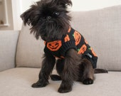 Halloween Pumpkin Knitted Dog Sweater Size Medium