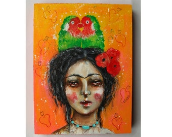 folk art Original Frida painting mixed media art painting on wood canvas 8x6 inches - Frida's Love