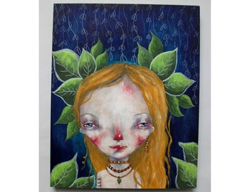 folk art Original girl painting whimsical mixed media art painting on wood canvas 8x10 inches - Speak to me of Earth