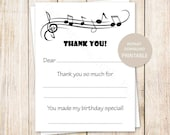 PRINTABLE music thank you cards . fill in the blank birthday thank you . music notes, musical . INSTANT DOWNLOAD