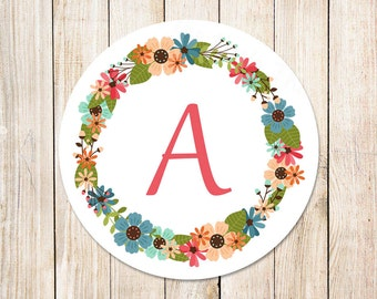 PRINTABLE floral initial stickers . tags . monogram . floral wreath . envelope seals . You Print