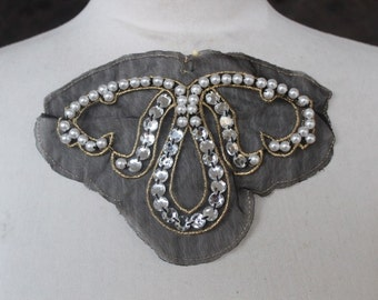 Cute color  embroidered  and  beaded applique with rhinestones