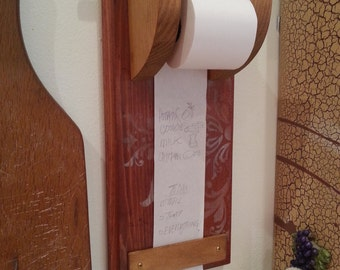 Classic Note Taker Grocery List Dispenser Kitchen Memo Note Scroll Natural Solid Wood Classic vintage home decor