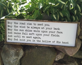 May the Road Rise to meet you Irish blessing quote Distressed Framed Wood Sign