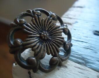 4 Antique Brass Draw Pulls