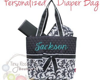 Personalized Diaper Bag, Grey Ivy Monogrammed Baby Tote, Changing Pad, Mommy Bag