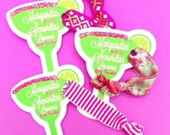 Single Set 1 card Hair Ties Bachelorette Party Favors KIT Accessories Gift Her Bridesmaids Margaritas Fiesta Mexico Themed Senoritas