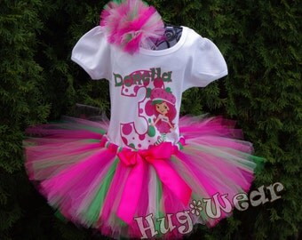 Custom Mod Strawberry Shortcake Birthday Shirt + Tutu Outfit  (any age) pinks and green
