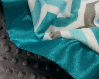 Baby Blanket Teal and Gray Chevron Zig Zag with Gray Minky and Single Teal Trim
