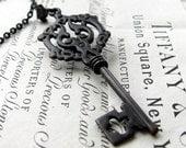 Dark Mystery, Gothic skeleton key necklace, large skeleton key, black key pendant, long chain, opera length, Fallen Angel Brass