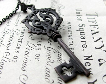 Dark Mystery, Gothic skeleton key necklace, large skeleton key, black key pendant, long chain, opera length, Fallen Angel Brass