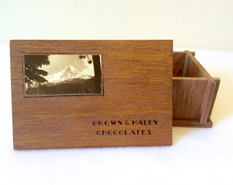 Vintage Wooden Candy Box Brown & Haley Tacoma Mt Hood PNW