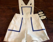 Fabulous vintage boys nautical romper shorts or jumper in white cotton pique with navy blue trim - NOS