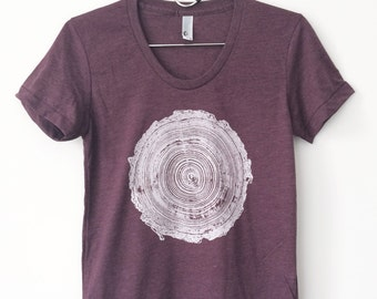 Women's Tree Rings T-Shirt Heather Plum