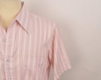 70s vintage Kent Arrow Shirt pink striped pointed collar short sleeve shirt 16 Medium Men